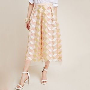 Arabella Embroidered Tulle Midi Skirt Anthro